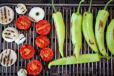 西红柿,洋葱,青椒,炊具,格子烤肉,蔬菜,土耳其,清新,食品,烤肉架