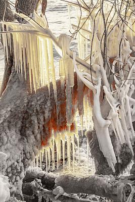 威斯康星,自然,冬天,冰雕,桨叉架船,海岸线,活力,超现实主义的,户外,非凡的