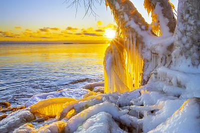 威斯康星,自然,冬天,冰雕,海岸线,桨叉架船,活力,超现实主义的,户外,非凡的