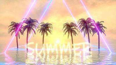 棕榈树,夏天,霓虹灯,海洋,云景,热带气候,浪漫,云,热带树,户外