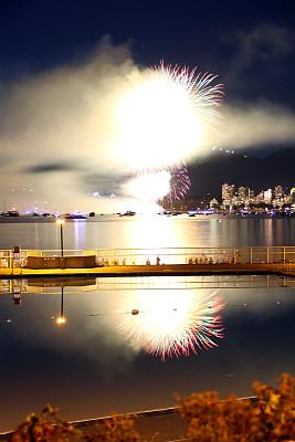 夜晚,明亮,英湾,加拿大,史坦利公园,水湾,沙滩派对,温哥华,红色,长时间曝光