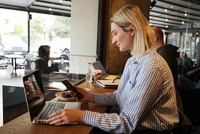 智能手机,咖啡,女商人,咖啡馆,商务,城市生活,专业人员,计算机,土耳其,社会化网络