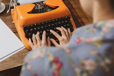 古典式,打字机,女人,平衡折角灯,部分,新闻记者,技术,复古风格,商业金融和工业,木制