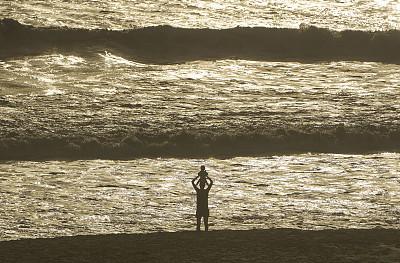 黎明,女儿,母亲,佛罗里达,婴儿,可可海滩,海洋,美国,中环,看