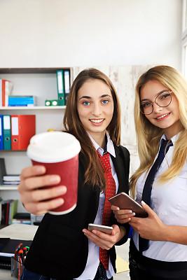 咖啡,欲望,咖啡杯,肖像,现代,拿着,仅女人,办公室,眼镜,拍摄场景
