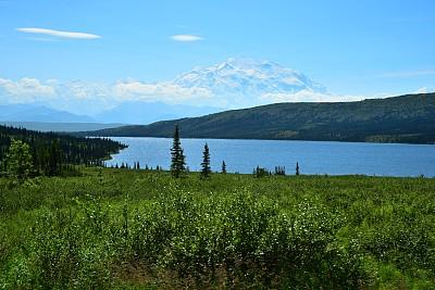 麦金利峰,奇幻湖,阿拉斯加,野生动物保护,图像,国家公园,美国,无人,丹那利国家公园,户外