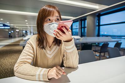 机场,女商人,面罩,药,肖像,技术,拿着,病毒,日本人,日冕形病毒