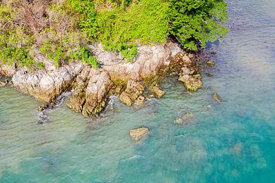 水,岩石,沙子,透明,海滩,航拍视角,青绿色,热带气候,小的,无人机