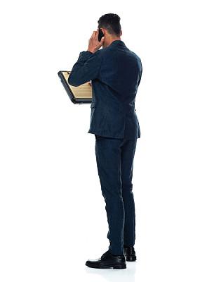 拿着,非洲人,写字板,智能手机,男商人,男性,休闲正装,衣服,站,做