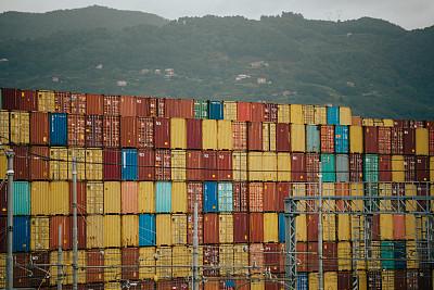 商用码头,意大利,货船,垒起,交通方式,现代,丰富,堆,商业金融和工业,盒子