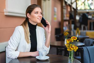 智能手机,咖啡馆,女人,电子邮件,咖啡杯,杯,现代,仅女人,仅一个女人,幸福