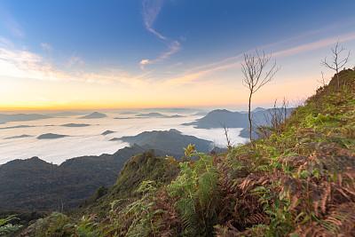 清迈省,地形,黎明,风景,泰国,北,自然,道教