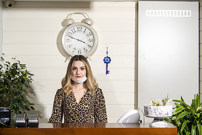 Eski?ehir Turkey.Receptionist woman in hotel/ luxury restaurant