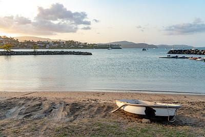 黄昏,圣灵群岛,澳大利亚,艾利海滩,鸡尾酒,长椅,世界遗产,云,主干道,客轮