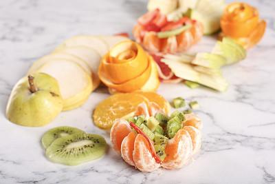 清新,水果沙拉,土耳其,热带气候,蓝莓,熟的,甜点心,沙拉,水果,低的