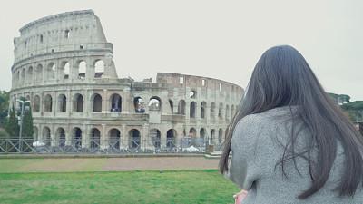 旅行者,意大利,自拍,伴侣,前面,东南,亚洲,罗马斗兽场,圆形剧场,罗马