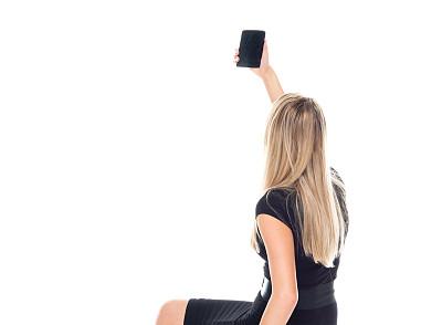 白色背景,正装,青年女人,手机,前面,白色人种,衣服,休息,摄影,做