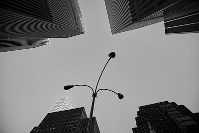 纽约,曼哈顿中心,商务,灯笼,现代,钢铁,商业金融和工业,窗户,户外,天空
