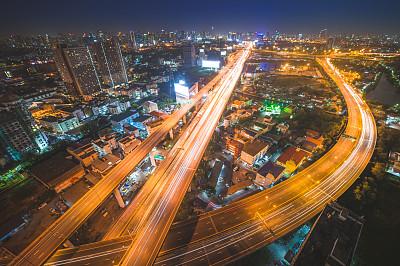 泰国,黄昏,silom,商务,都市风景,曼谷,航拍视角,全景,高大的,建筑外部