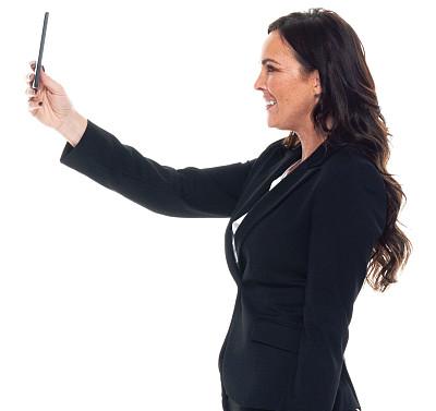 白色背景,正装,青年女人,手机,白色人种,衣服,专业人员,背景分离,40到44岁,肖像