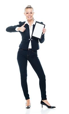 商务人士,白色背景,女性,休闲正装,使用平板电脑,衣服,白色人种,彩色运动茄克,背景分离,裤子