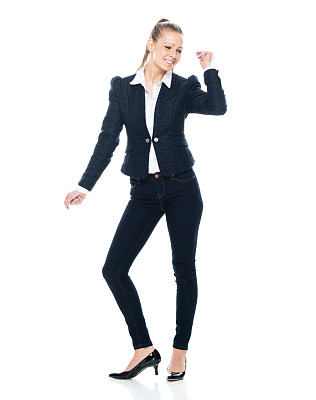 商务人士,白色背景,女性,休闲正装,前面,衣服,白色人种,彩色运动茄克,背景分离,裤子