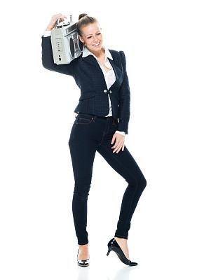 裤子,商务人士,白色背景,女性,磁带录音机,前面,拿着,白色人种,衣服,锻炼