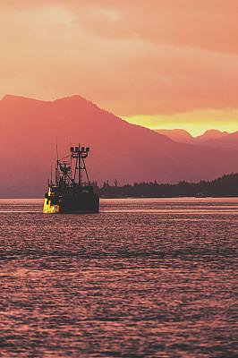 拖捞船,美国西北太平洋地区,阿拉斯加,山脊,渔业,凯契根,加拿大,美国西部,船,海岸线