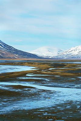 斯瓦尔巴德群岛,朗伊尔城,挪威,人类居住地,草,色彩鲜艳,夏天,户外,建筑