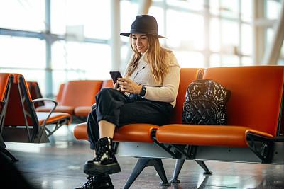 幸福,女人,飞机,机场,等,旅途,土耳其,肖像,技术