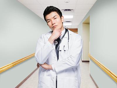 走廊,中国人,医院,医生,男性,实验服,衣服,焦点,健康保健,听诊器