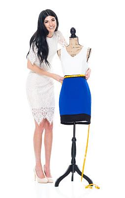 创作行业,女性,白色背景,连衣裙,服装店,衣服,缎带,缝纫,测量,做