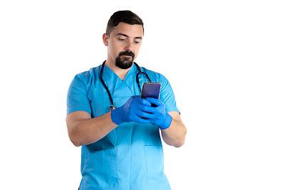 智能手机,听诊器,白色背景,医生,男性,做