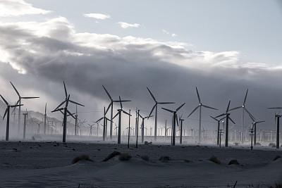 风轮机,尘暴,棕榈叶泉