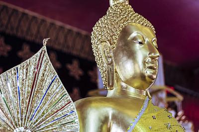 雕像,泰国,清迈省,金佛寺