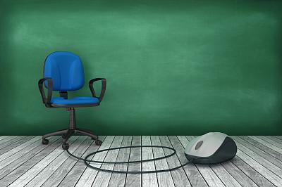 黑板,三维图形,鼠标,办公椅