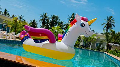 独角兽,游泳池,度假胜地,平衡折角灯,充气品,华贵,热带气候,玩具,塑胶,气垫床