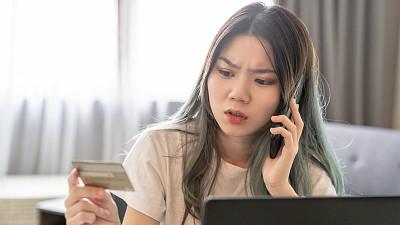 信用卡,青年女人,问题,东亚文化,专业人员,肖像,技术,25岁到29岁,帐单,感知