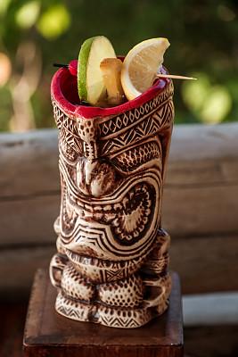 提基,棕榈叶,鸡尾酒,饮料,含酒精饮料,清新,热带气候,玻璃杯,印度次大陆