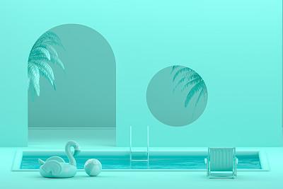 室内,游泳池,夏天,概念,彩色背景,青绿色,海滩充气球,边框,简单,现代