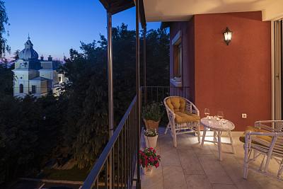 阳台,现代,浪漫,夜晚,梯田,自然美,园林,都市风景,华丽的,葡萄酒
