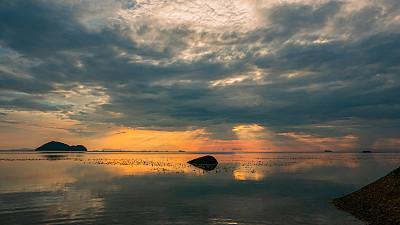 色彩鲜艳,云景,景观设计,云,泰国,橙色,黄昏,正装,禅宗,日落