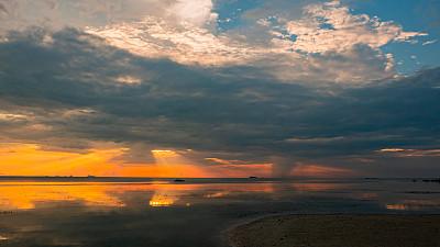 海岸线,帕安岛,岛,非凡的,云景,景观设计,曙暮光,云,泰国,日落