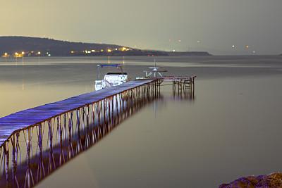 木制,栈桥码头,长时间曝光,夜晚,秘密,暗色,安静,土耳其,厚木板,平衡