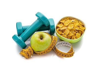 卷尺,哑铃,概念,水果,白色,谷类食品,运动,健康食物,分离着色,活力