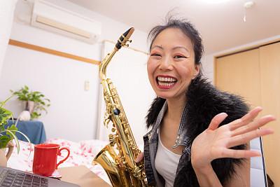 日本人,音乐,女人,仅日本人,肖像,技术,流行病学,享乐,联系,相伴