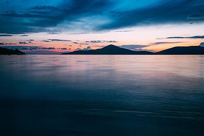 海岸线,长时间曝光,爱琴海,土耳其,云景,曙暮光,云,黄昏,地中海,切什梅