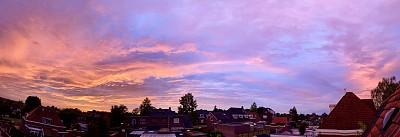 天空,全景,云景,云,黄昏,色彩鲜艳,过分地消耗精力,透过窗户往外看,户外,建筑