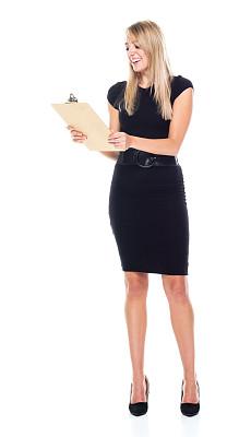 拿着,正装,女商人,白色背景,女性,合同,白色人种,衣服,专业人员,检查表