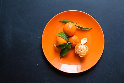 桔子,盘子,橙子,传统,清新,食品,甜点心,甜食,乡村风格,水果